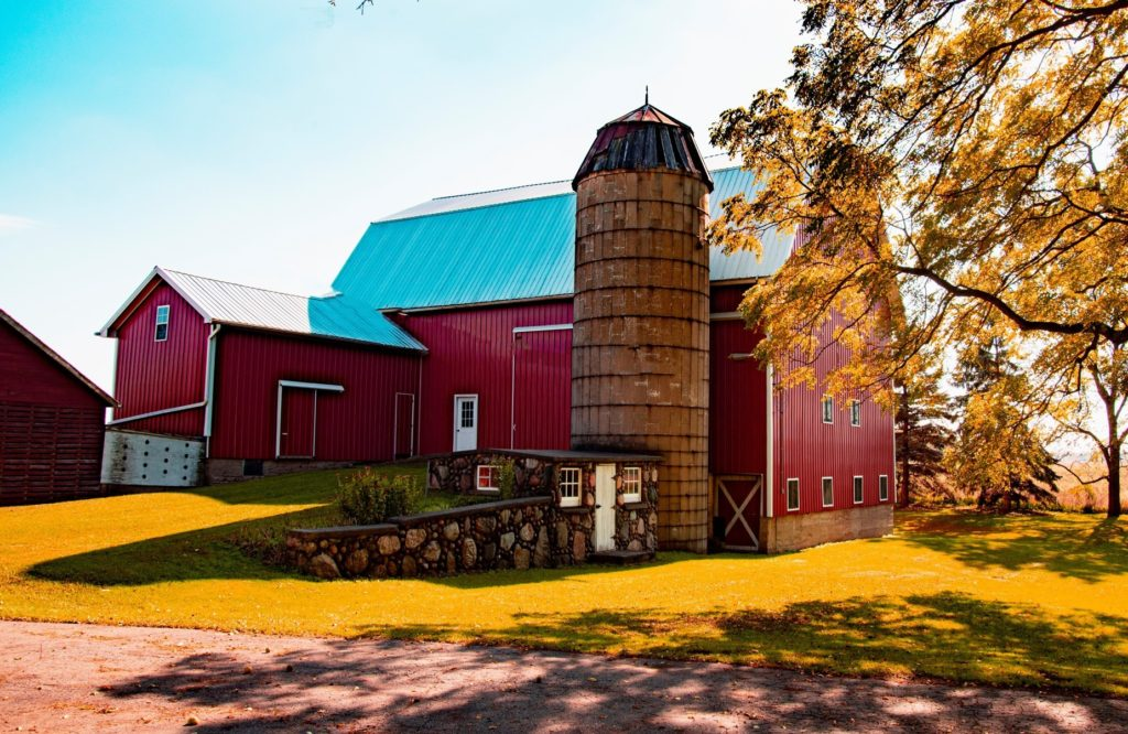 Fall color at Showers Barn in Ingham County, MI (Photo by Jim Mulvaney)